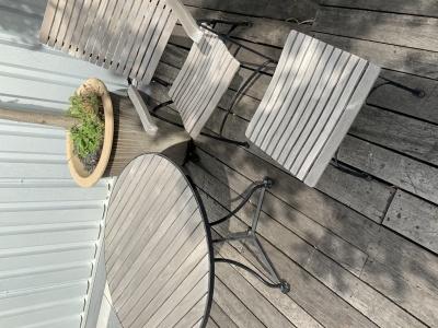 Garpa Fontenay recliner met tafel 90cm ø en voetenbankje (2)