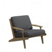 Gloster Bay loungestoel teak -antraciet grijs
