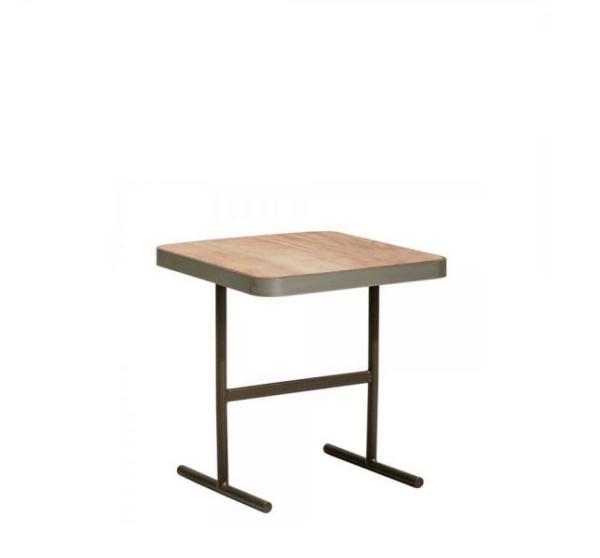 Kettal Boma sidetable 51x51cm – Chalk – teak blad + feldspar rand
