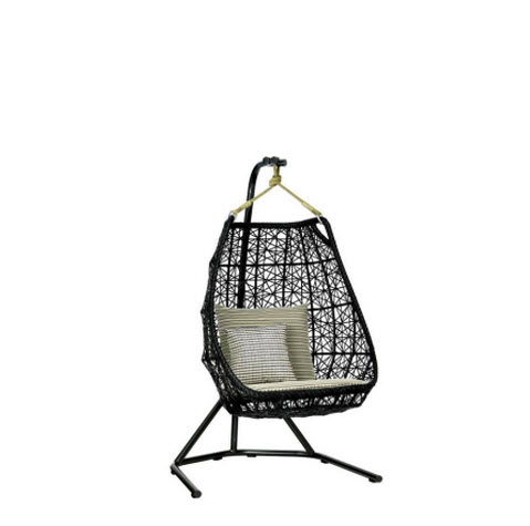 Kettal Egg Swing relax fauteuil manganese/chestnut/black