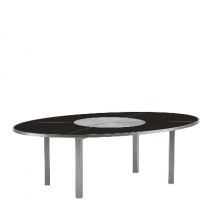 O-zon Oval Table with Stainless Steel Center