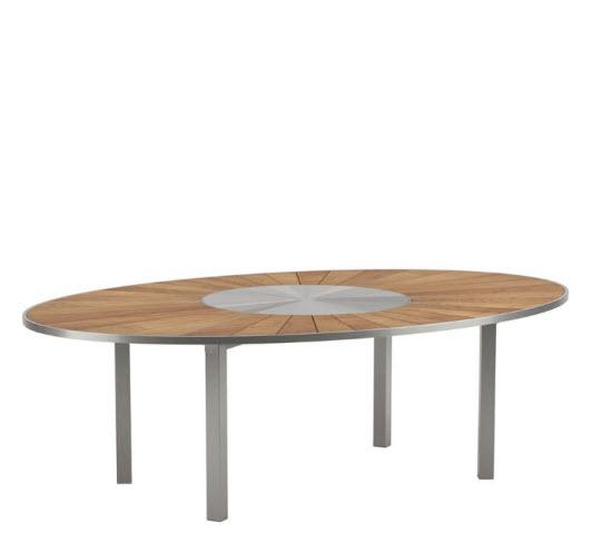 Royal Botania O-zon tafel 240x160cm ovaal – Pearl grey / teak top