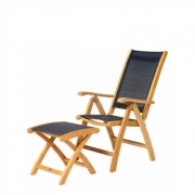 Traditional teak Kate 7 standen Recliner teak-zwart+footer