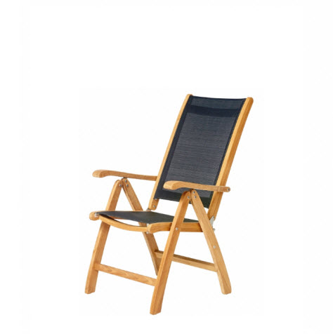 Traditional teak Kate 7 standen Recliner teak-zwart